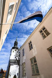 Estonian flag in the medieval old town of Tallinn Stock Images
