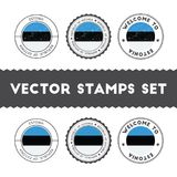 Estonian flag rubber stamps set. National flags grunge stamps. Country round badges collection Stock Photos