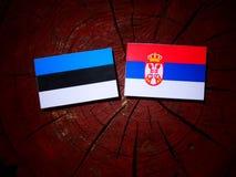 Estonian flag with Serbian flag on a tree stump isolated. Estonian flag with Serbian flag on a tree stump stock photos