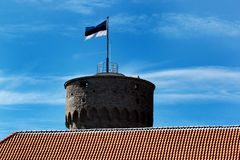 Estonian flag on Tall Hermann Tower in the Old Town of Tallinn, Estonia Stock Photography