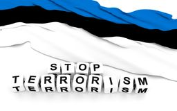 Estonian flag and text stop terrorism. Royalty Free Stock Image