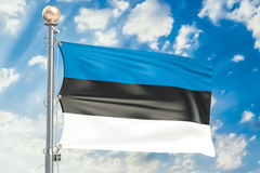 Estonian flag waving in blue cloudy sky, 3D rendering Stock Photography