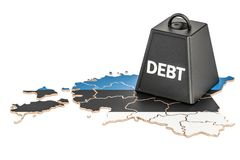 Estonian national debt or budget deficit, financial crisis conce. Pt, 3D Stock Photography
