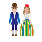 Estonian national dress. Illustration of national costume on white background Royalty Free Stock Images