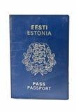 Estonian passport. Estonian blue passport isolated on white Stock Photo