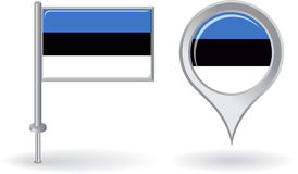 Estonian pin icon and map pointer flag. Vector Stock Photography