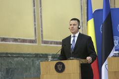 Estonian Prime Minister Juri Ratas. BUCHAREST, ROMANIA - May 24, 2017: Estonian Prime Minister Juri Ratas speaks during the joint press conference with Romanian royalty free stock photography