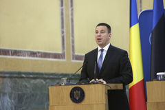 Estonian Prime Minister Juri Ratas. BUCHAREST, ROMANIA  - May 24, 2017:  Estonian Prime Minister Juri Ratas speaks during the joint press conference with Stock Photography