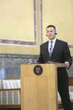 Estonian Prime Minister Juri Ratas. BUCHAREST, ROMANIA  - May 24, 2017:  Estonian Prime Minister Juri Ratas speaks during the joint press conference with Stock Photos