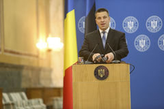 Estonian Prime Minister Juri Ratas. BUCHAREST, ROMANIA  - May 24, 2017:  Estonian Prime Minister Juri Ratas speaks during the joint press conference with Royalty Free Stock Photos