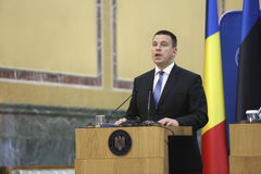 Estonian Prime Minister Juri Ratas. BUCHAREST, ROMANIA  - May 24, 2017:  Estonian Prime Minister Juri Ratas speaks during the joint press conference with Stock Images