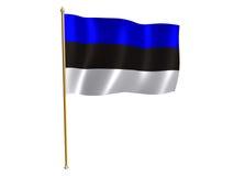 Estonian silk flag. Silk flag of Estonia Stock Photo