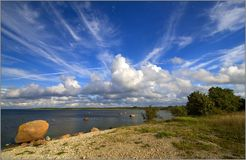 Estonian sky. Blue sky over Estonian island Saaaremaa Royalty Free Stock Image