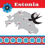 Estonian traditional pattern, map and national Stock Photo