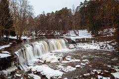Estonian winter panorama waterfall Royalty Free Stock Photos