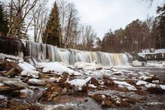 Estonian winter panorama waterfall Royalty Free Stock Image