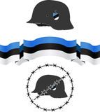 Estonian wsw helmet and flag Royalty Free Stock Photos