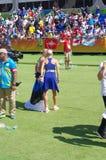 Estonians三胞胎的两个姐妹在Rio2016的 库存图片