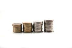 Estoque de moedas do baht tailandês Imagem de Stock