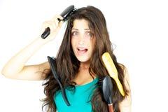 Eu não posso escovar meu cabelo esta manhã imagens de stock