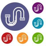 Estorbo en los iconos del tubo fijados stock de ilustración