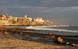 Estoril Beach, Portugal. Beautiful sunset light on the beach of Estoril, Portugal royalty free stock image