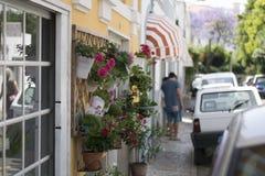 Estoril poca calle el tiempo de verano, flores coloridas en potes en la pared Imagen de archivo