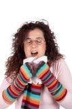 Estornudo de la muchacha Imagenes de archivo