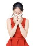 Estornudo de la mujer Imagen de archivo