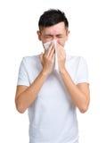 Estornudo del hombre Imagenes de archivo