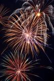 Estouros múltiplos do fogo-de-artifício Fotografia de Stock