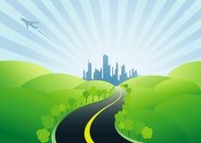Estrada à cidade urbana Foto de Stock Royalty Free