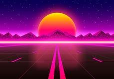 A estrada à infinidade no por do sol ilustração stock