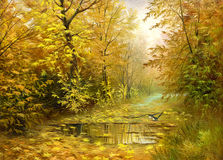Estrada à madeira do outono Fotografia de Stock