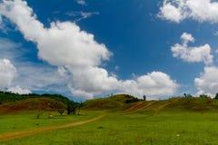A estrada à montanha no campo com céu claro Fotos de Stock Royalty Free