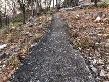 A estrada à parte superior de construções da montanha para o curso a ver a vista fotografia de stock royalty free