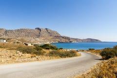 Estrada à praia do Agathi Fotografia de Stock