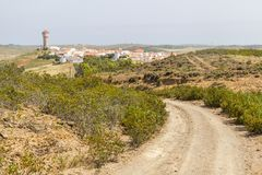 Estrada à vila de Vila do Bispo Fotografia de Stock Royalty Free