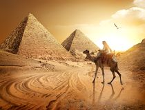 Estrada às pirâmides Imagens de Stock Royalty Free