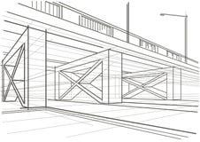 Estrada aérea do esboço arquitetónico linear Imagens de Stock