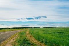 A estrada aberta da estrada entre campos ajardina com céu nebuloso Imagens de Stock Royalty Free