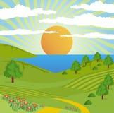 Estrada abstrata do céu do sol da paisagem da natureza Foto de Stock