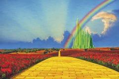 Estrada amarela do tijolo a Emerald City imagens de stock royalty free