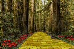 Estrada amarela do tijolo que conduz através de uma floresta ilustração do vetor