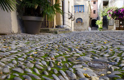 Estrada antiga feita de pedras redondas Fotos de Stock