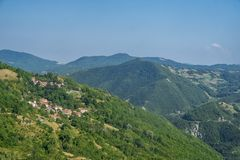 Estrada ao della Cisa de Passo, de Toscânia a Emilia Fotografia de Stock