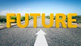 Estrada ao horizonte e ao futuro da palavra Imagens de Stock Royalty Free
