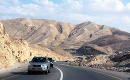 Estrada ao Mar Morto através das montanhas Foto de Stock