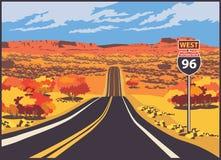 Estrada ao oeste Foto de Stock Royalty Free