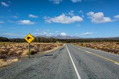 Estrada ao parque nacional de Tongariro, com sinal do quivi, Nova Zelândia Fotografia de Stock